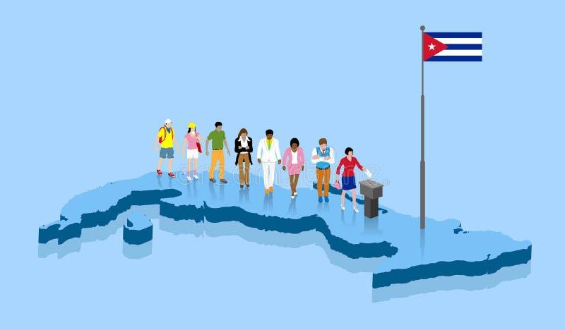 古巴公民投票支持在古巴地图的竞选 库存例证