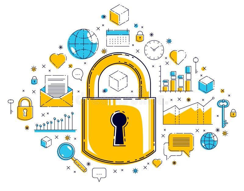 另外象集合、互联网保护概念、抗病毒或者防火墙围拢的挂锁锁,个人的数据保护 向量例证