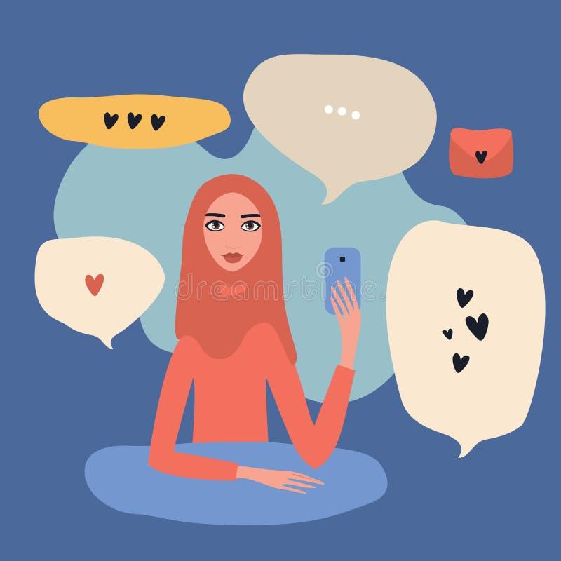 可爱的年轻美丽的回教举行手机现代通讯技术概念的妇女佩带的hijab 向量例证