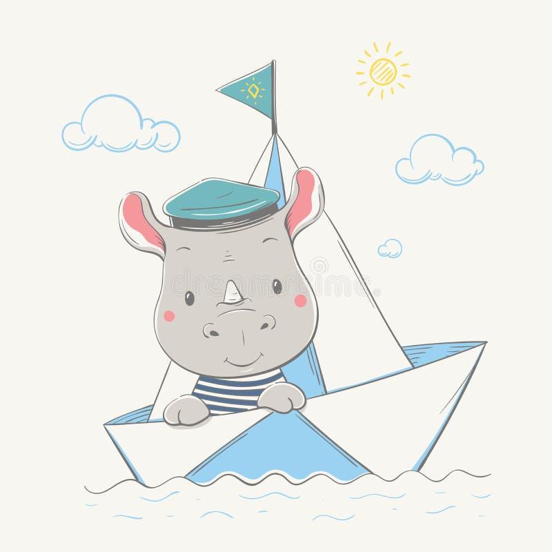 可爱的逗人喜爱的小的犀牛穿戴了上尉的在纸小船的盖帽游泳 儿童的卡片夏天系列  库存例证