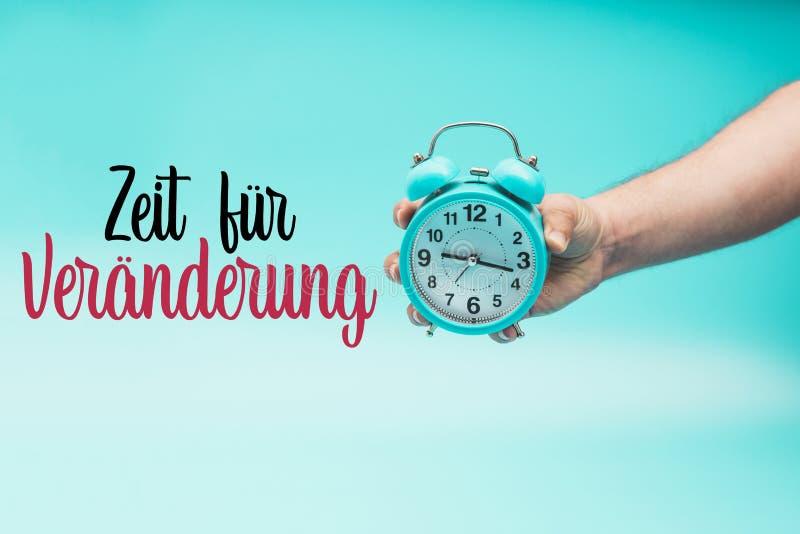 变化的时刻在德语上:宰特山fà ¼ r Veränderung 免版税库存照片