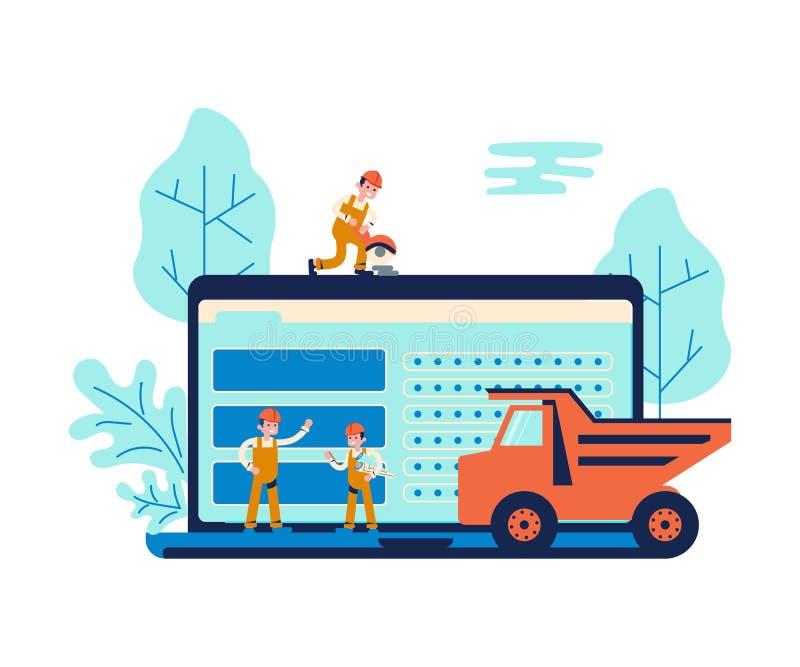 发展概念和网站建设中 库存例证