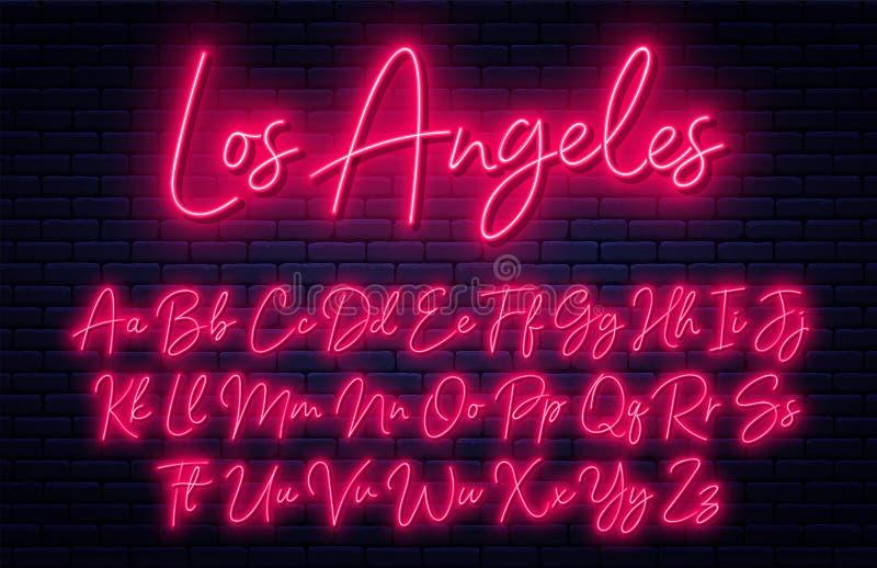 发光的霓虹剧本字母表 与大写和小写字母的霓虹字体 手写的英语字母表 皇族释放例证