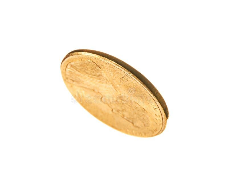 发光的金美国硬币 库存图片