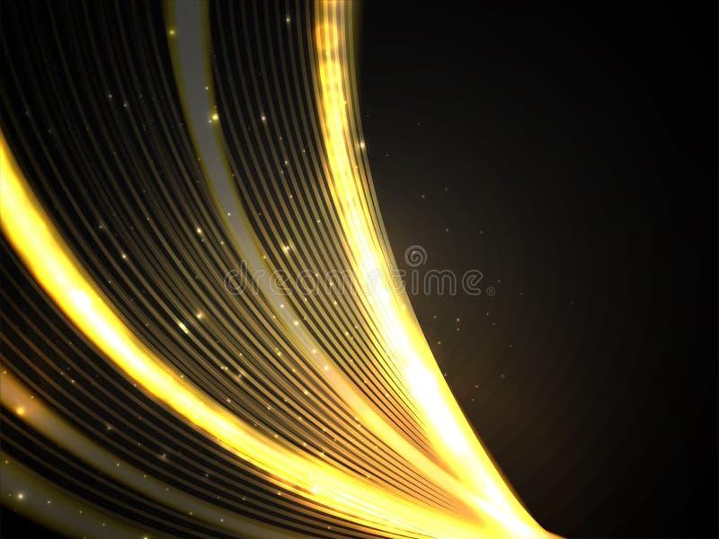 发光的金黄光束或涌现的光芒抽象背景 库存例证