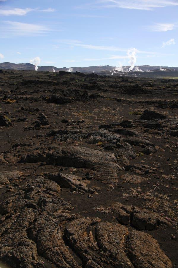 发烟性冰岛风景 免版税图库摄影