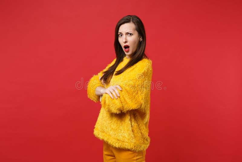 发誓被激怒的恶心的年轻女人画象黄色毛皮毛线衣的握手在明亮的红色横渡了隔绝 库存照片