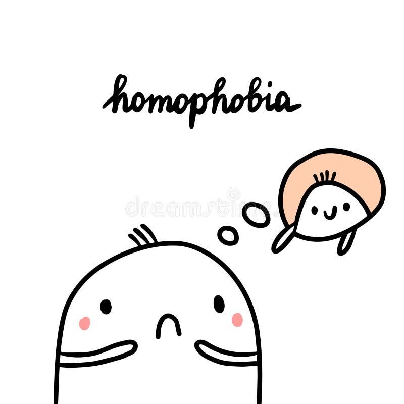 同性恋恐惧症手拉的例证用逗人喜爱的蛋白软糖害怕另一个人 向量例证