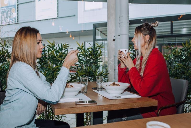 吃女性的朋友午餐一起 免版税库存照片