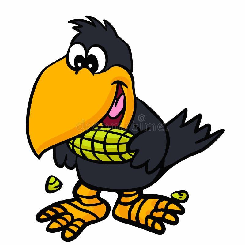 吃玉米的滑稽的乌鸦 向量例证