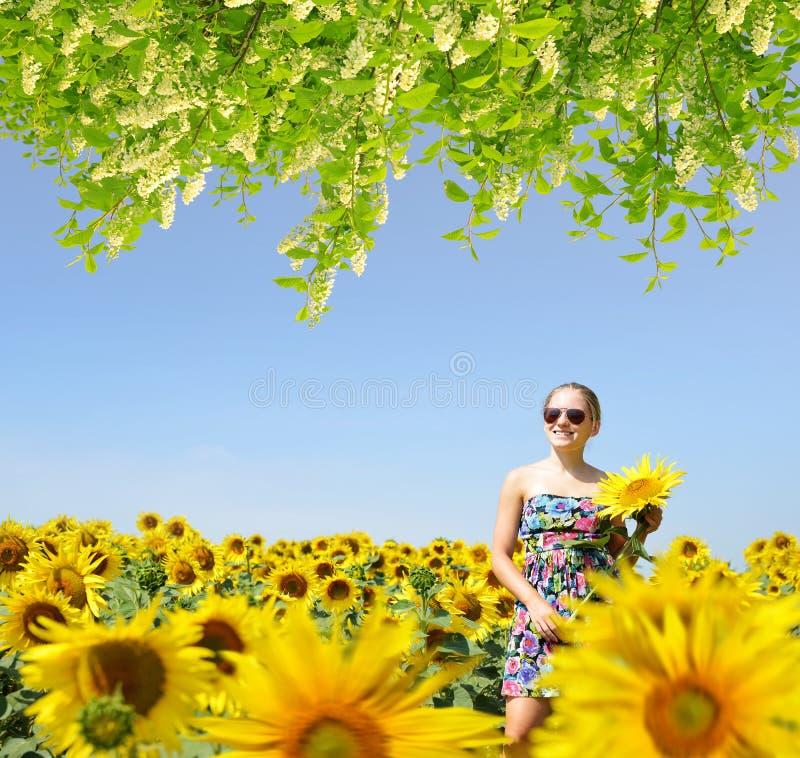 向日葵领域的美丽的白种人女孩 免版税库存图片