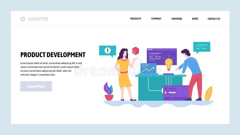 向量网站设计模板 新产品开发,creatice想法 队工作在办公室 着陆页概念为 向量例证