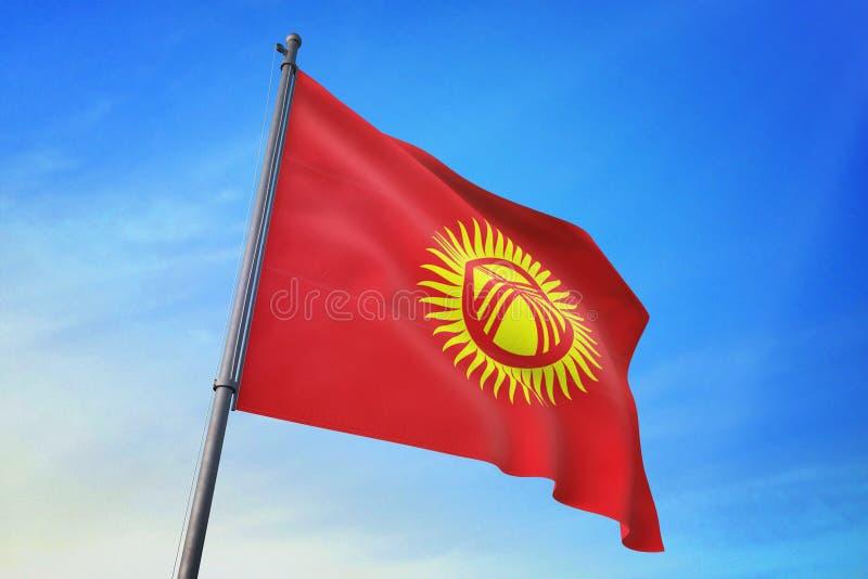 吉尔吉斯斯坦沙文主义情绪在天空蔚蓝3D例证 库存例证