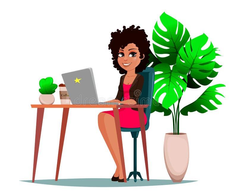 坐在与膝上型计算机、植物和咖啡的桌上的美丽的女商人 向量例证