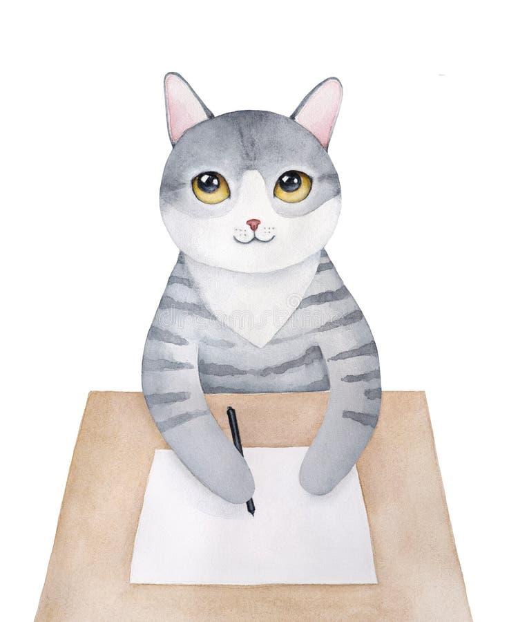坐在木桌上和周道地写与笔的逗人喜爱的沉思小猫字符在干净的纸板料 库存例证