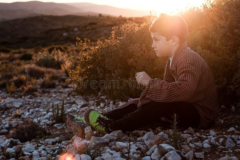 坐在领域的一个小白肤金发的男孩的画象 日落的英俊的小男孩 库存照片