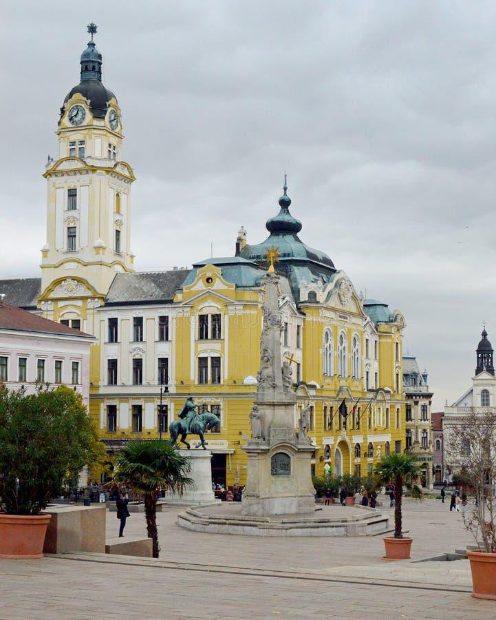 塞切尼特尔或大广场佩奇匈牙利在佩奇,匈牙利 图库摄影