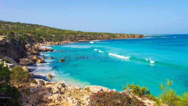 塞浦路斯 海海滩风景 免版税图库摄影