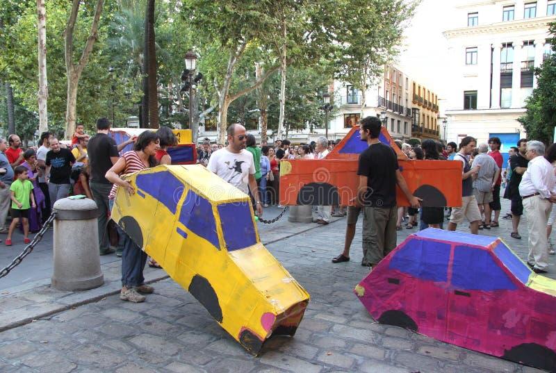 塞维利亚居民的行动支持公共交通工具的 库存照片