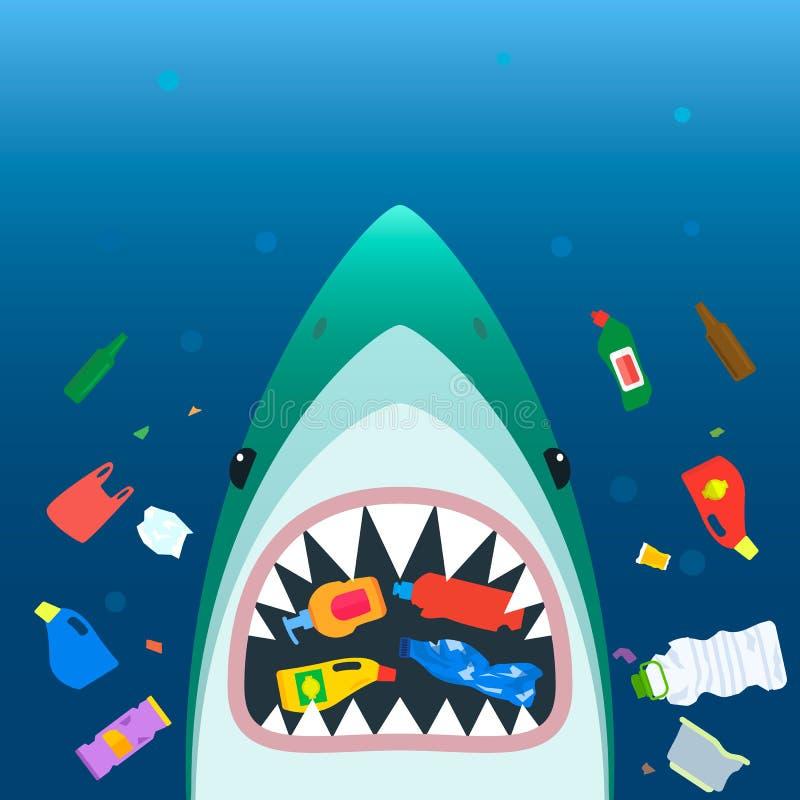 塑料垃圾生态灾难在海洋 一个可怕鲨鱼与开放嘴吃在被污染的海中的塑料垃圾 平面 库存例证