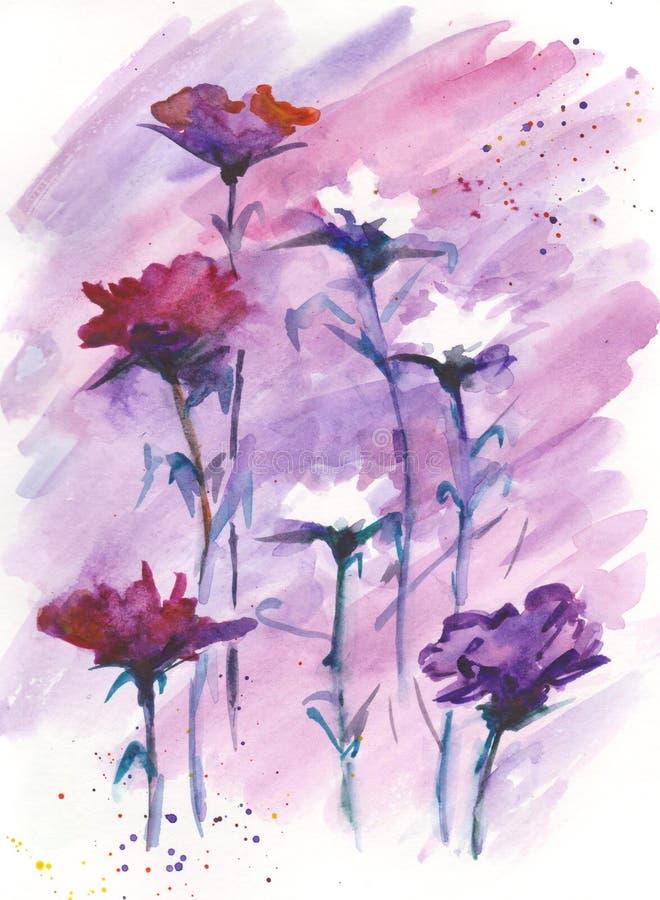 墙壁装饰的花卉背景水彩图画 皇族释放例证