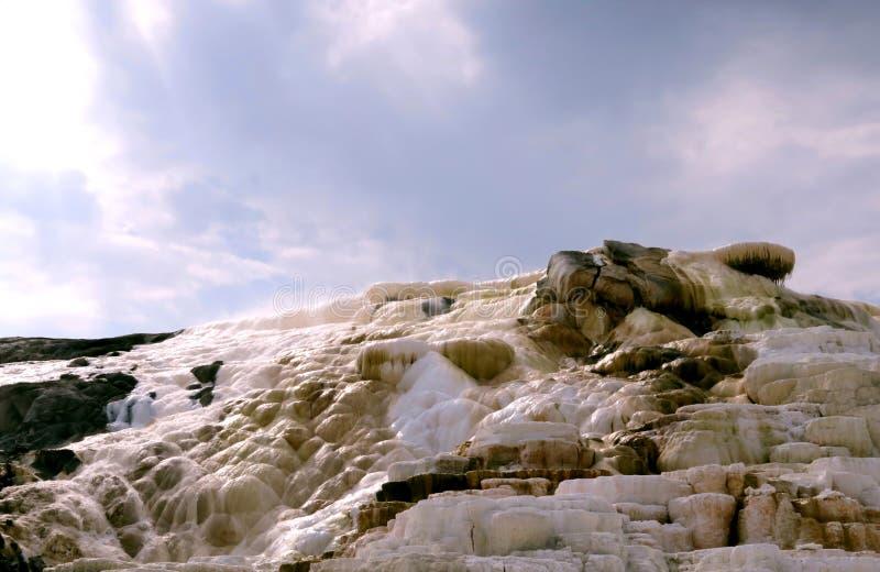 声势浩大的春天岩层在阳光下 免版税图库摄影