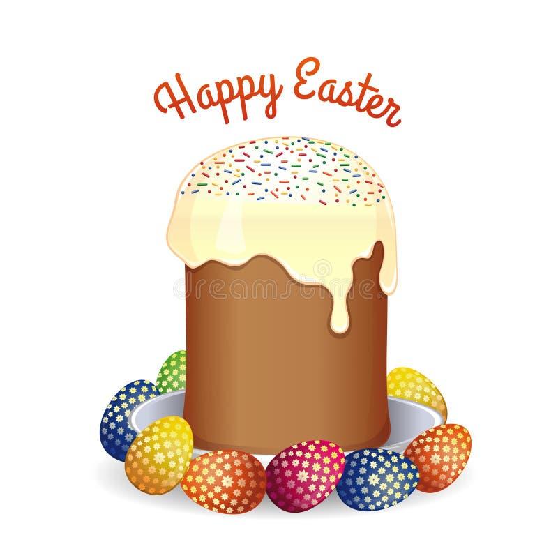 复活节与复活节蛋糕和鸡蛋的贺卡 皇族释放例证