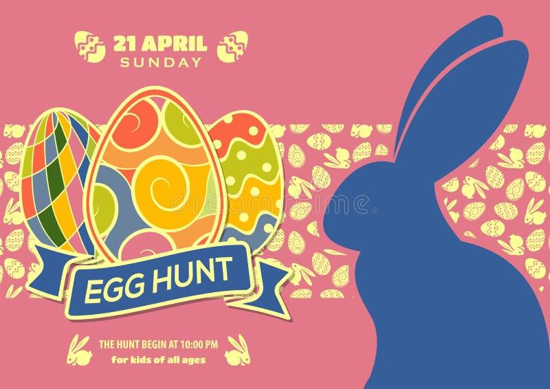 复活节彩蛋狩猎海报或邀请设计用鸡蛋和逗人喜爱的兔宝宝 也corel凹道例证向量 库存例证