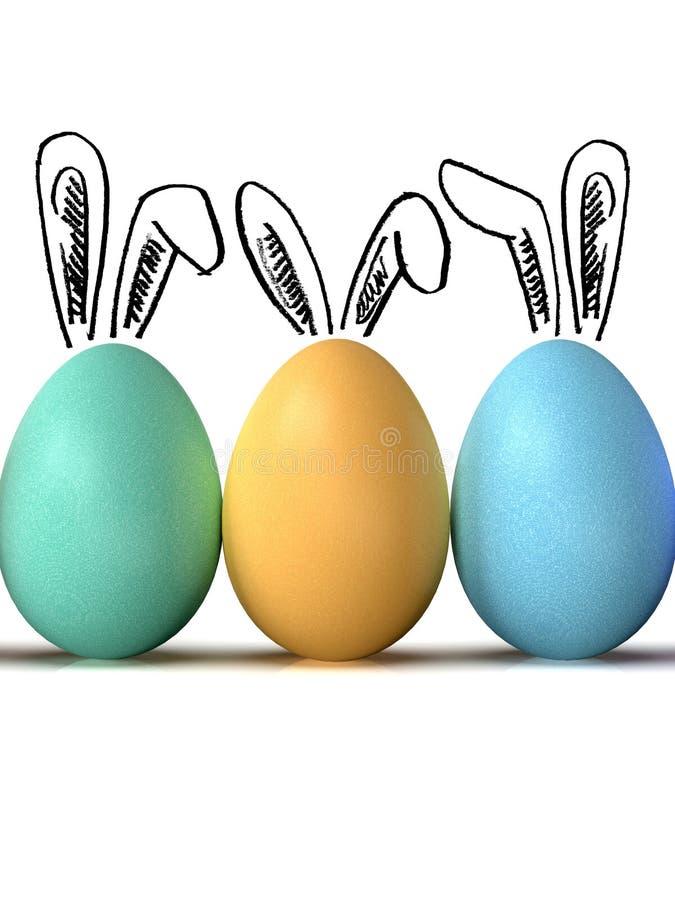 复活节彩蛋行,与兔宝宝耳朵,在白色背景 图库摄影