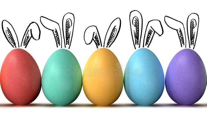 复活节彩蛋行,与兔宝宝耳朵,在白色背景 免版税库存图片