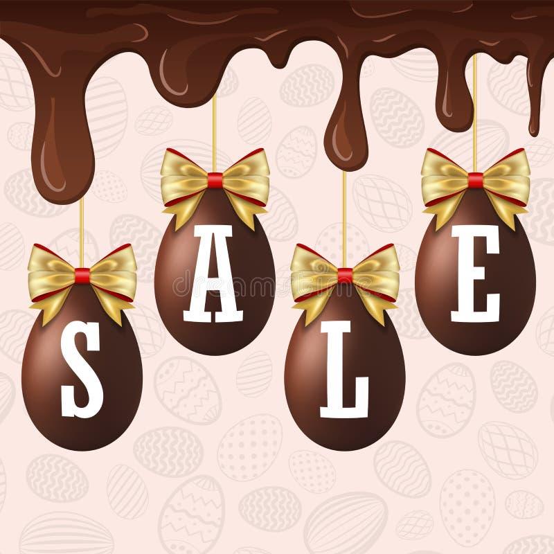 复活节彩蛋销售白色文本 愉快的复活节垂悬的鸡蛋3D,滴下的融解巧克力,金丝带弓,织地不很细背景 皇族释放例证