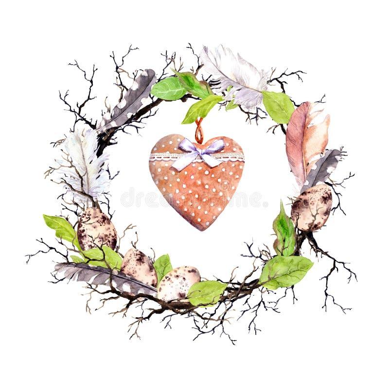 复活节彩蛋,枝杈,春天叶子,羽毛,葡萄酒心脏 花卉复活节卡片 在土气,农村样式的水彩 免版税库存图片
