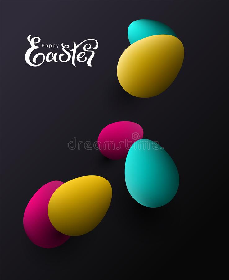 复活节快乐上色了在黑背景贺卡的鸡蛋 皇族释放例证