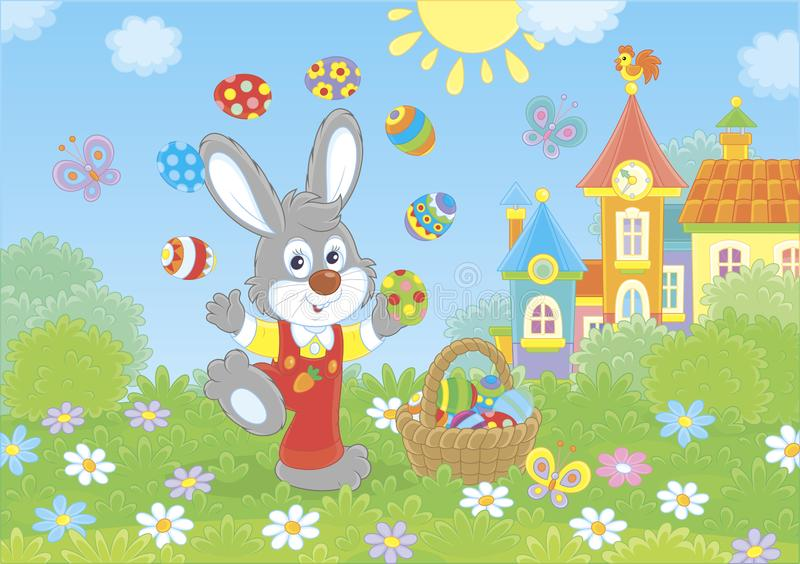 复活节兔子变戏法者 库存例证