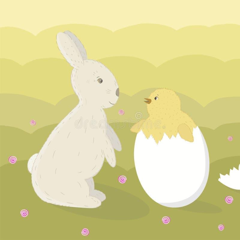 复活节兔子和小鸡 皇族释放例证