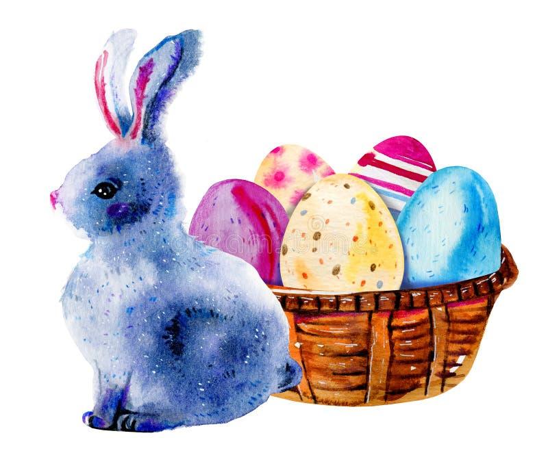 复活节兔子和被绘的复活节彩蛋在一个木篮子 手拉的水彩例证 库存例证