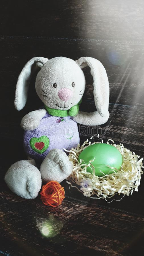 复活节兔子用在秸杆巢的鸡蛋  免版税库存照片
