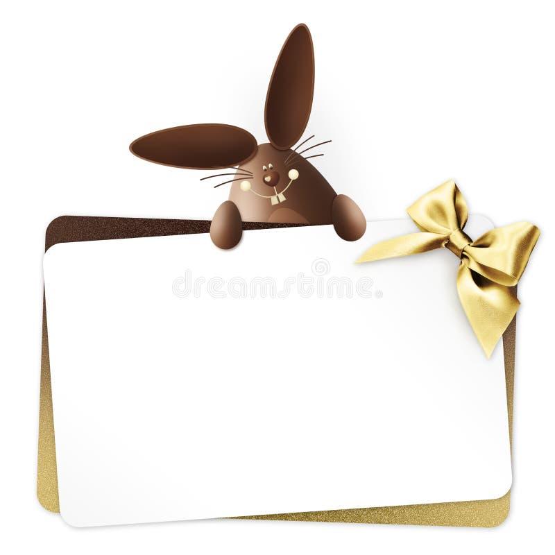 复活节礼品券用兔宝宝巧克力与在白色隔绝的金黄丝带弓的复活节彩蛋 库存例证