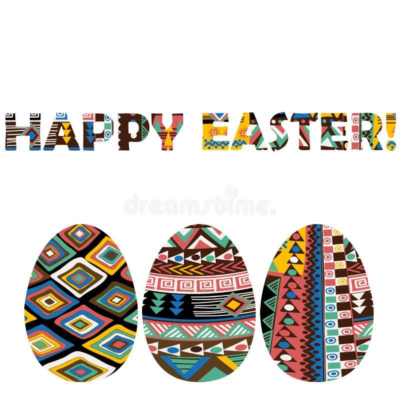 复活节贺卡用种族主题鸡蛋 皇族释放例证