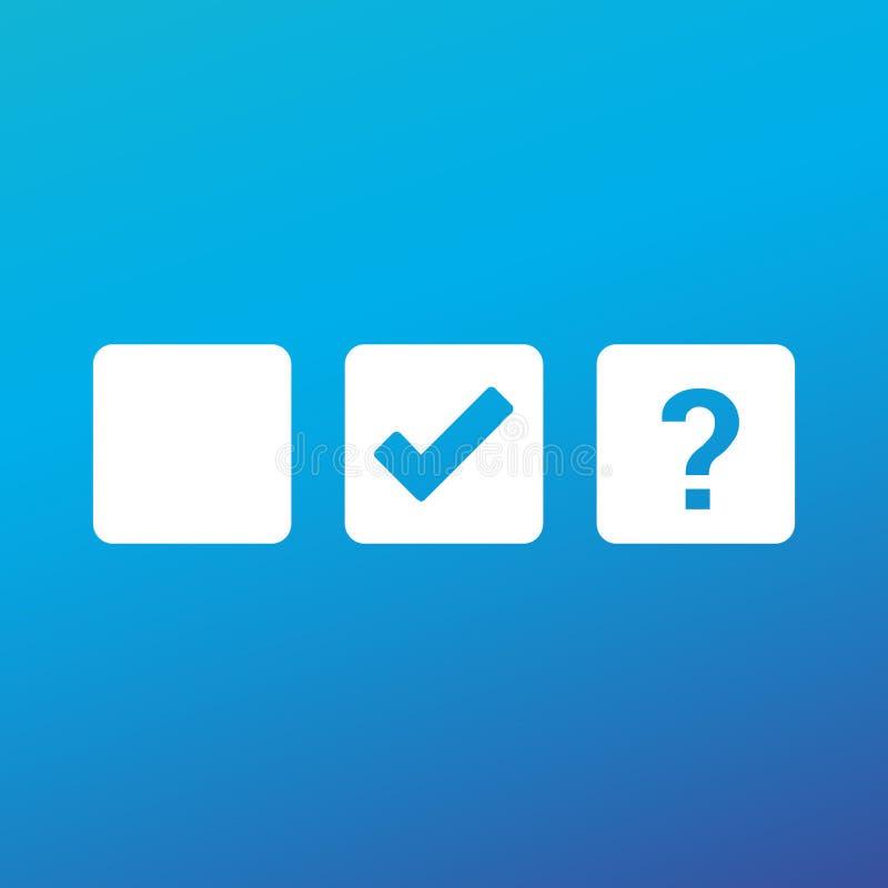 复选框空白、检查号和问号,壁虱校验标志,认同标志设计 在方形的复选框的好标志象 检查 库存例证