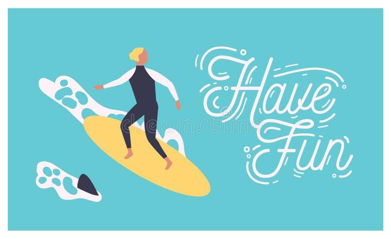 夏天与男性冲浪者的明信片冲浪在海或海洋的模板冲浪板的或人和有乐趣愿望写与 库存例证