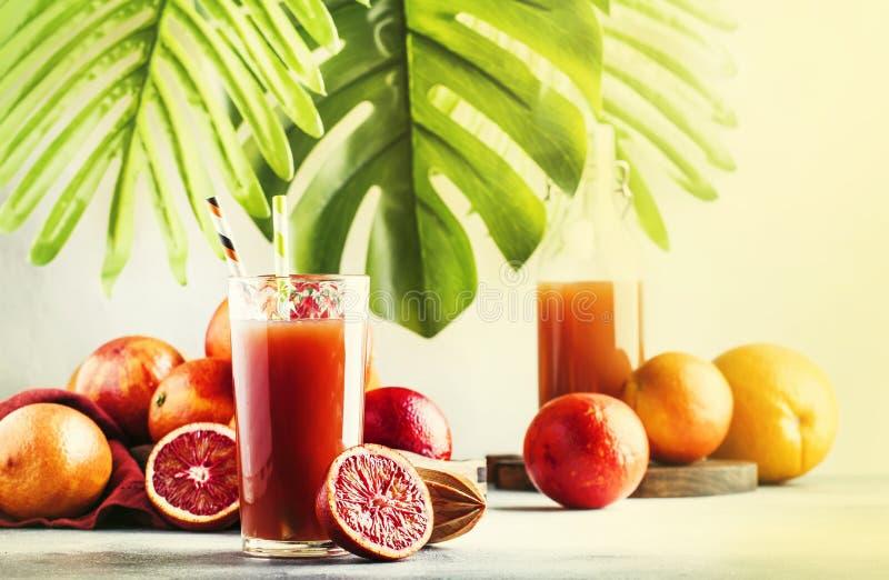 夏天汁液或非酒精刷新的健康鸡尾酒或者饮料从新近地被紧压的红色西西里人的桔子,明亮的轻的桌 库存照片