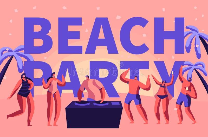 夏天海滩党假期吹捧印刷术横幅 室外的人的热带俱乐部Dj戏剧音乐 字符舞蹈假日 皇族释放例证