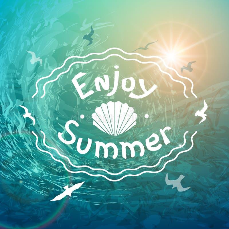 夏天海背景 在发怒的波浪和海鸥背景的美好的白色题字  库存例证