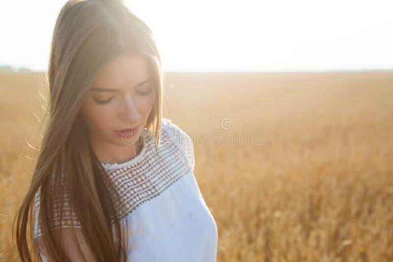 夏天黄色领域的女孩在太阳 可爱的妇女画象在金黄麦田的在夏日 免版税库存图片