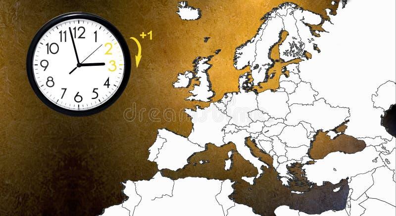 夏时制 DST 去冬时的壁钟 转动时间向前 免版税图库摄影