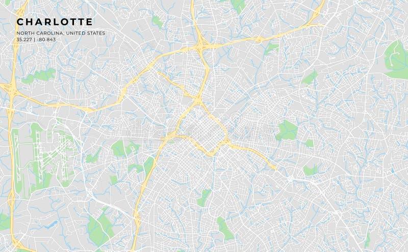 夏洛特,北卡罗来纳可印的街道地图  库存例证