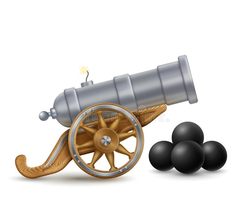 大大炮和古炮炮弹 向量例证