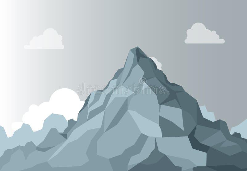 大横向山山 高山山图表上面,在背景天空的高形状石头 被隔绝的传染媒介 皇族释放例证