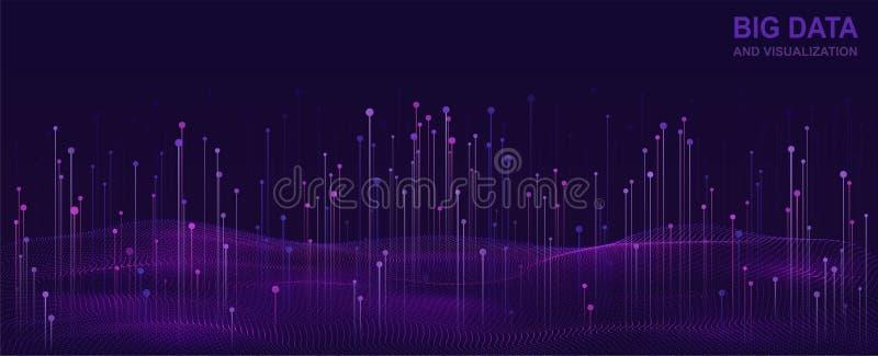 大数据形象化 数据流未来派设计  与流动的微粒的抽象数字式背景 皇族释放例证